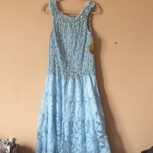 Full length baby blue party dress